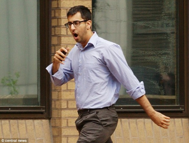 The couple's son Abbas (pictured outside court) was found guilty of fraud charges at Southwark Crown Court at an earlier hearing