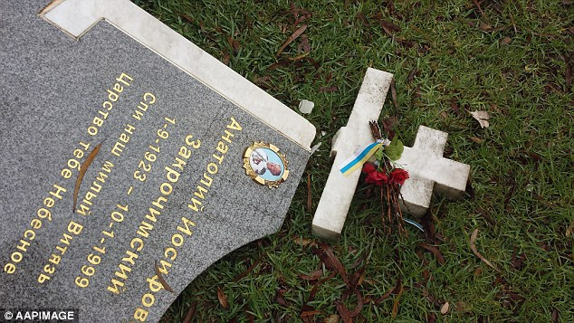The gravestone of Anatole Zakroczymski's (pictured) lies smashed at Rookwood Cemetery in Sydney