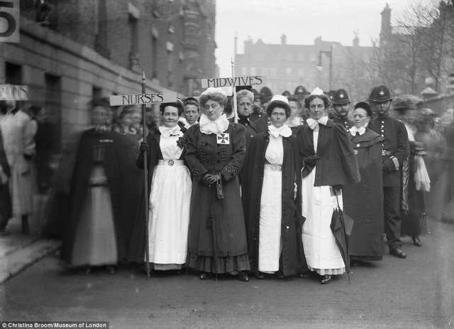Mrs Broom managed to capture suffragettes, soldiers and protests taking place in London such as nurses and midwives marching as part of the Pageant of Women's Trades and Professions which took place through the city and ended at the Royal Albert Hall in April 1909
