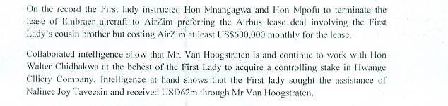 Documents obtained by MailOnline show clear links between the Grace Mugabe and Nicholas van Hoogstraten