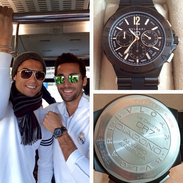 Alvaro Arbeloa (right) was the first to show off his watch, posting on social media site Instagram
