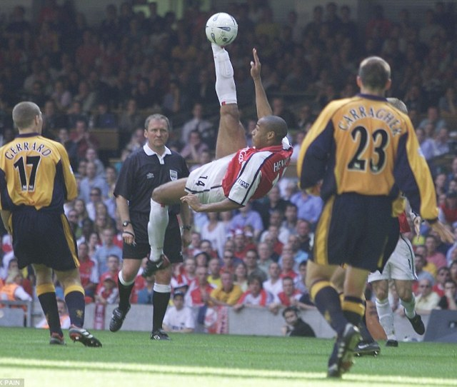 The Frenchman Attempts A Spectacular Overhead Kick In The  Fa Cup Final With Liverpool