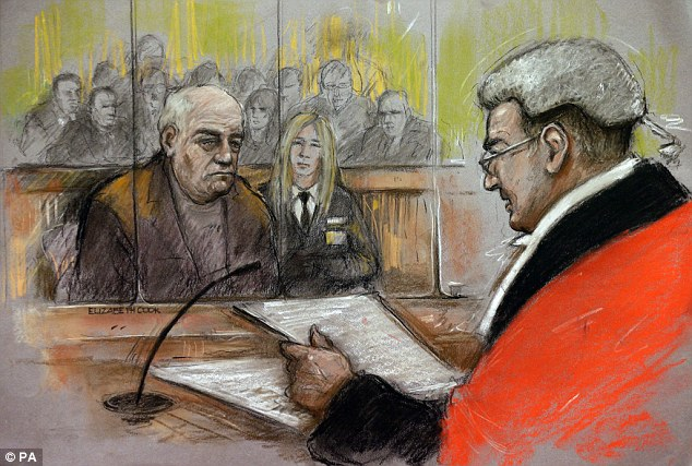 Court sketch: Denning was jailed at Southwark Crown Court in central London yesterday for 13 years for sexually assaulting 24 boys - including one allegedly at Jimmy Savile's house