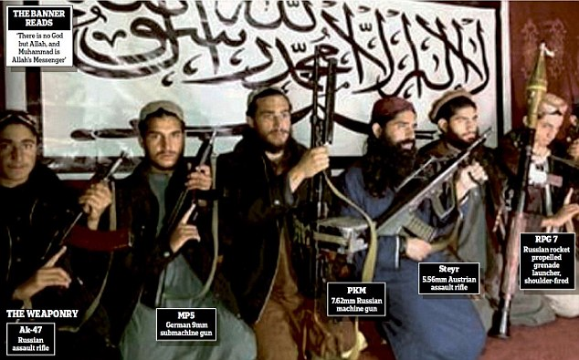 Depraved: The Taliban gunmen who slaughtered 148 innocent people, including 132 children, are pictured just hours before the massacre. The white banner they pose in front of is the flag of the Pakistani Taliban and reads: 'There is no God but Allah, and Muhammad is Allah's Messenger'