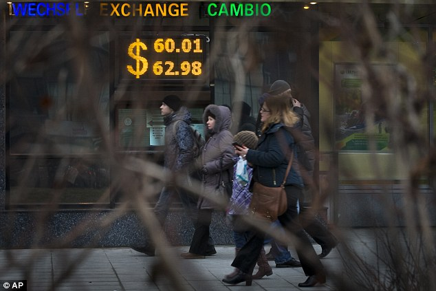 Fall: There is a complacent joy about the collapse of the rouble. Above, the dollar-rouble rate on Friday