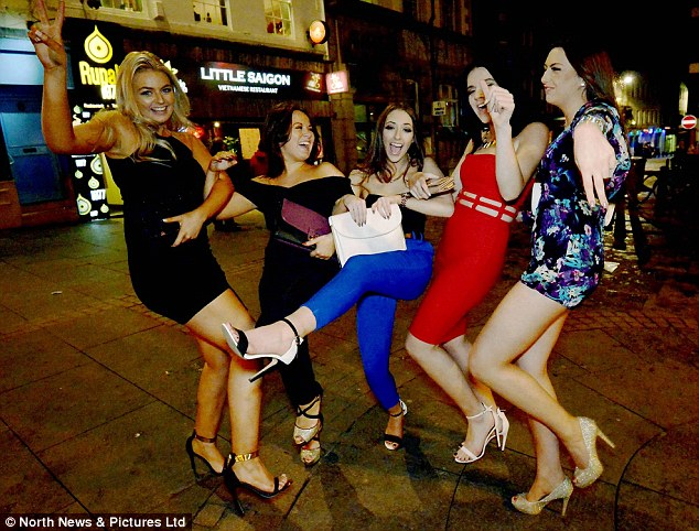 Revellers in Newcastle city centre donned their party outfits to celebrate 'Mad Friday' last night