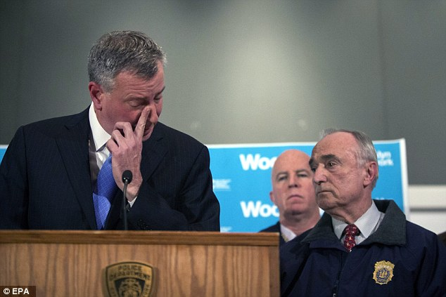 Speaking out:'Every New Yorker should feel they were attacked, that our entire city was attacked, by this heinous individual,' said de Blasio