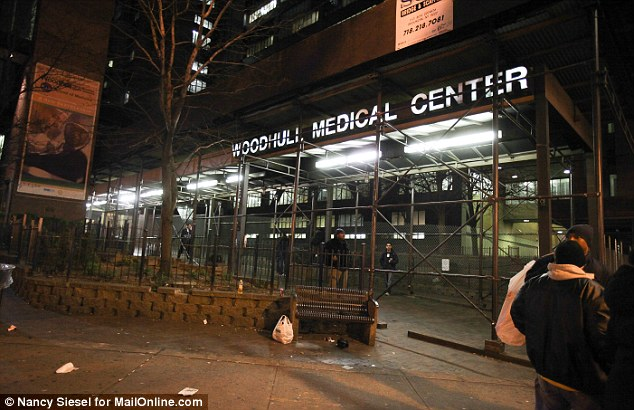 The news conference took place at the Woodhull Medical Center (above) in Brooklyn