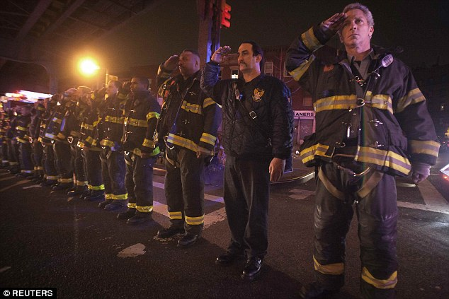 Hundreds lined the streets of Brooklyn on Saturday night