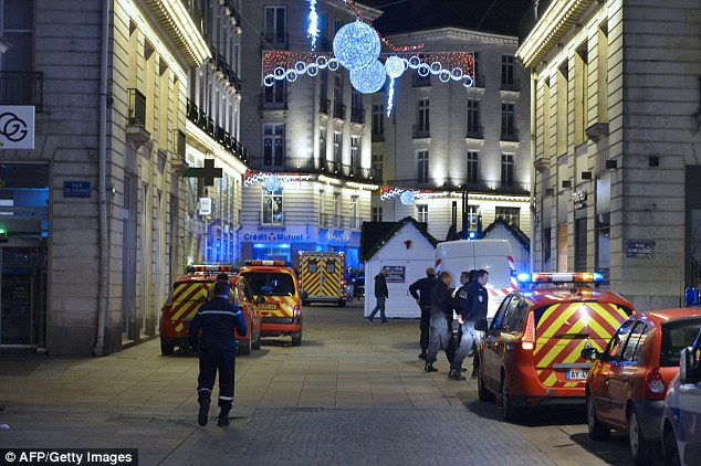 The incident in Nantes comes after a man drove a Renault Clio into crowds of pedestrians in Dijon yesterday