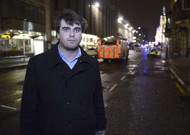 On the scene: Findlay Mair (pictured) was in George Square yesterday and watched the horror unfold