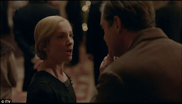 Surprise: She gets a shock when her missing husband returns to Downton, upon her release on bail