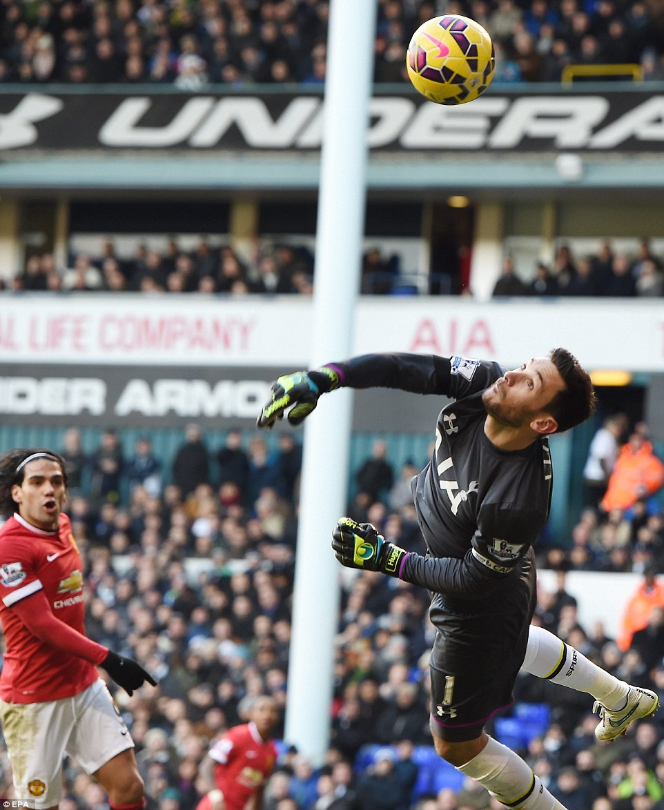 Lloris pulls off another stunning one-handed save to deny Ashley Young, whose shot was curling dangerously towards the far corner