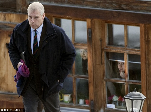 Solemn: Fellow skiers watch as Prince Andrew leaves his £22k-a-week Swiss chalet yesterday, bound for Britain and talks with the Queen, senior aides and his legal team