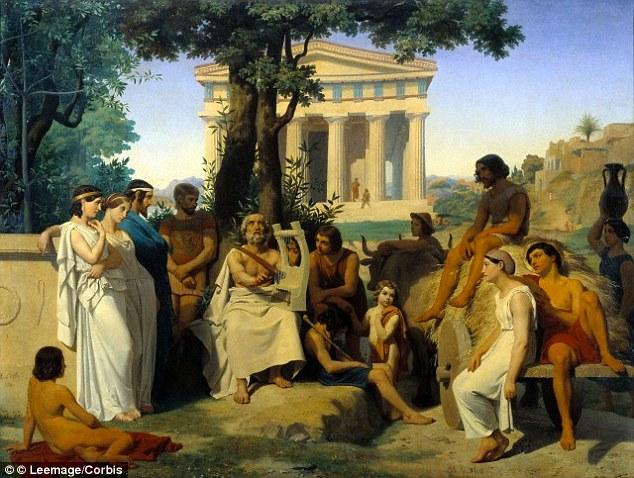 Homer este descris ca un bard orb în această pictură a lui Jean-Baptiste august Leloir, a avut loc la Luvru din Paris