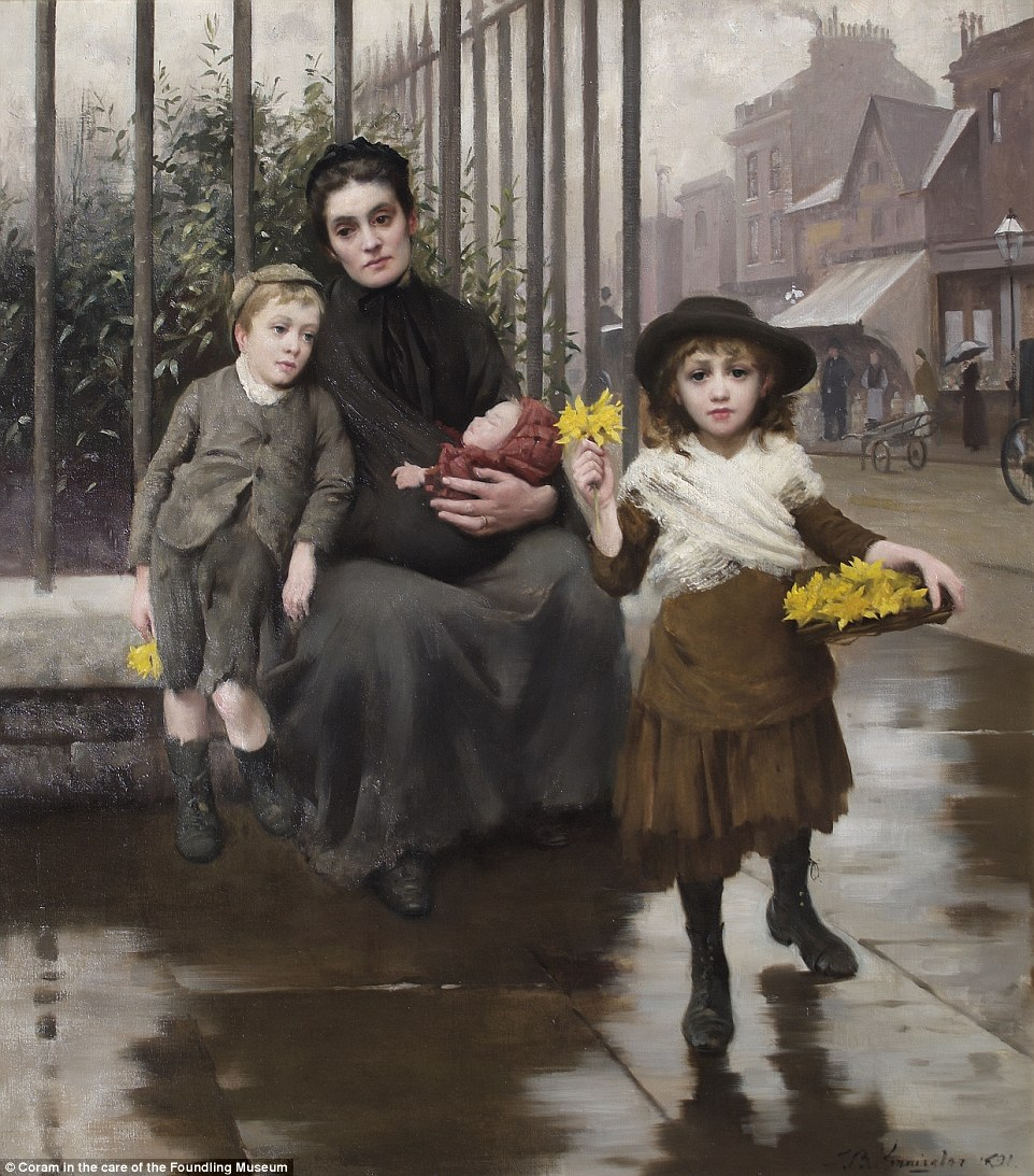 Scraping a living: Thomas Benjamin Kennington's painting, The Pinch of Poverty, shows a young girl selling bunches of flowers on the street