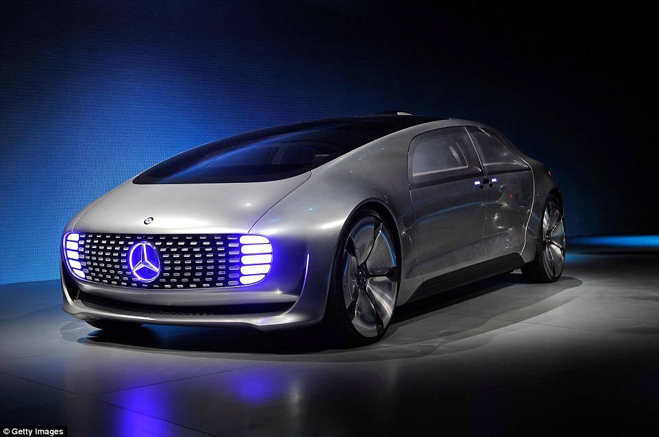 German company Mercedes has unveiled their concept self-driving car (shown). Called the F015 it has wide wheels to maximise passenger space. They revealed the new vehicle at CES 2015 in Las Vegas. A single pane of glass covers the top of the car