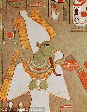 Osiris (illustrated) is traditionally depicted as a green-skinned, bearded man whose legs are mummified