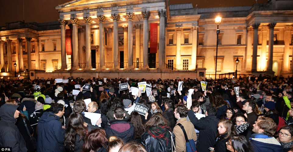 London: Crowds also gathered outside the National Gallery in Trafalgar Square in a show of support of those murdered in Paris today