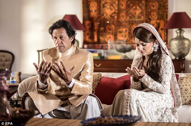 Controversial ceremony: The cricketer-turned politician tied the knot with divorced mother-of-three Reham in January, sparking an angry backlash from conservative Muslims