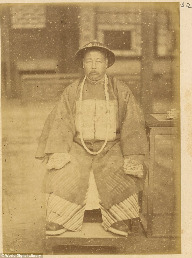 Respected statesman: After his role in a civil war thought to have killed 20million people, General Tso became a respected politician who lived into relatively old age. He is pictured here as the governor of Shangan province in 1875