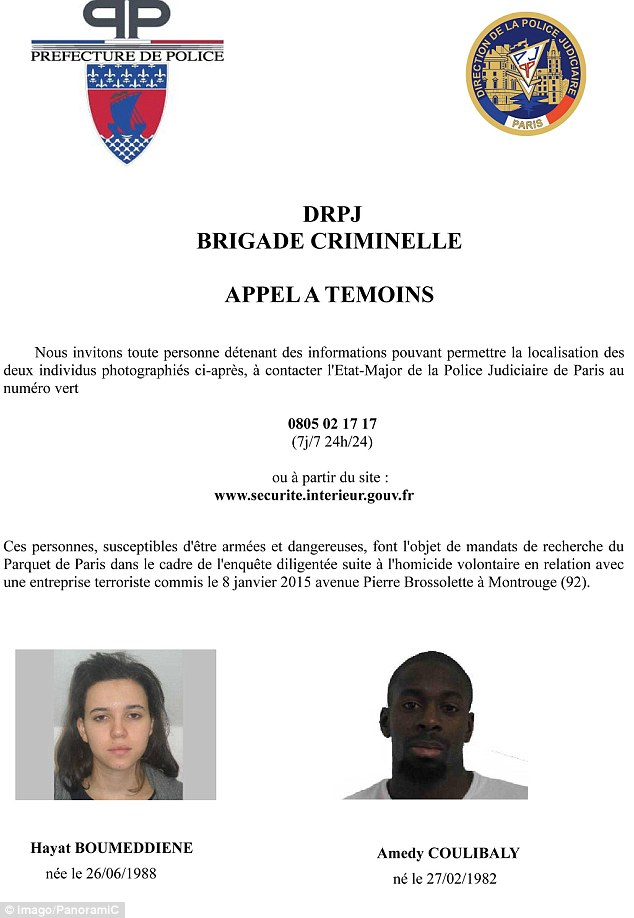 Wanted: Police issued this picture describing the couple as suspects in the shooting dead of a female police officer at Montrouge