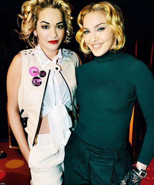 Rita pictured with Madonna after being made the face of the Queen of Pop's fashion line Material Girl