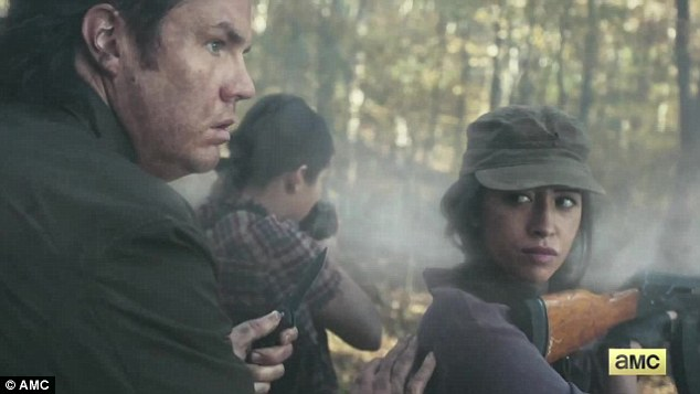 Stay behind the ladies: Confessed fraud Eugene Porter (Josh McDermitt) armed himself with a tiny knife alongside gun-wielding gals Tara (Alanna Masterson) and Rosita (Christian Serratos)