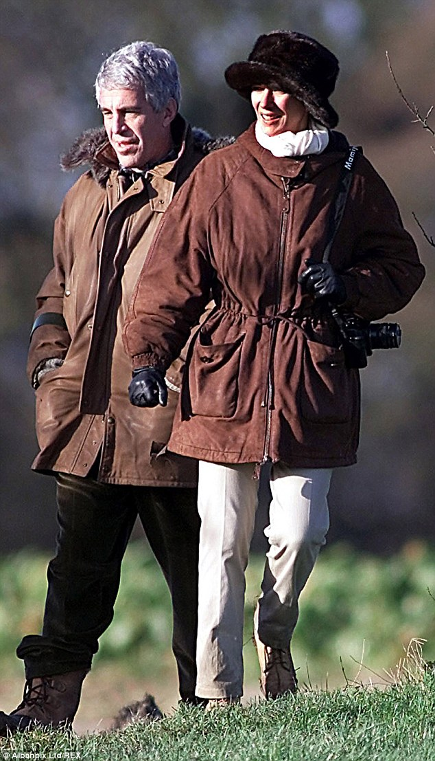 Close: Ghislaine Maxwell with Jeffrey Epstein (left) at The Queen's residence of Sandringham in 2000. The picture shows just how close she and Epstein were with Prince Andrew
