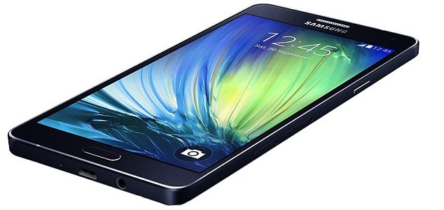 Samsung's A7 has curved edges, metallic band and a silver home button surround - just like the iPhone 5S (below)