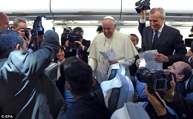 Journalists travelling with the pope from Rome said he appeared on good form during the flight