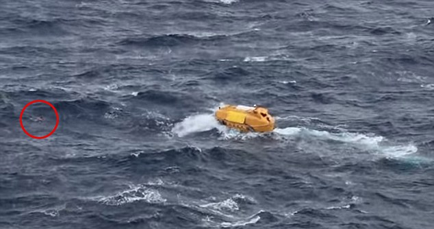 The passenger can be seen on the far left of the picture as the rescue vessel approaches
