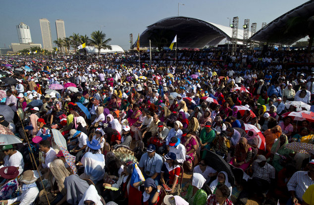 Colombo's seafront Galle Face Green is filled with audience witnessing the canonization ceremony of Joseph Vaz by Pope Francis, in Sri Lanka, Wednesday, Jan....