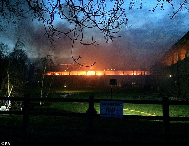 At its height 27 crews were battling the three major fires including at the district council offices (pictured)