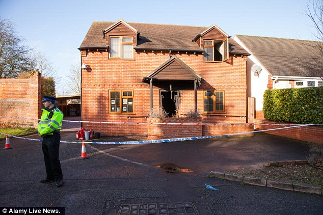 The funeral parlour was partly damaged by the fire, after  a gas canister was thrown in through the doorway