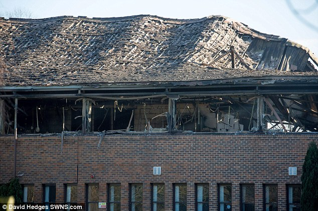 The roof of the large council building in Crowmarsh Gifford was left buckled, bent and caving in on itself