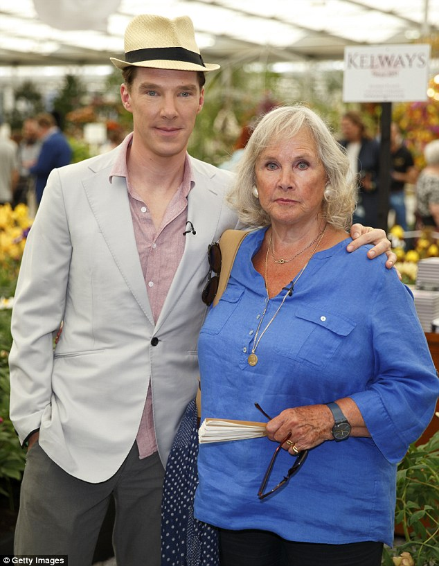 Mummy's boy: Benedict will no doubt have his parents cheering him on on Oscar night