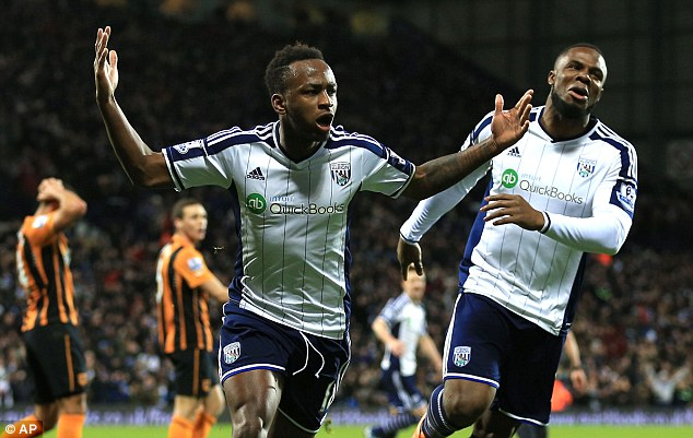 Berahino (left), who above celebrates a goal against Hull earlier in January, now looks likely to remain at the Hawthorns after West Brom refused to lower their valuation of the player