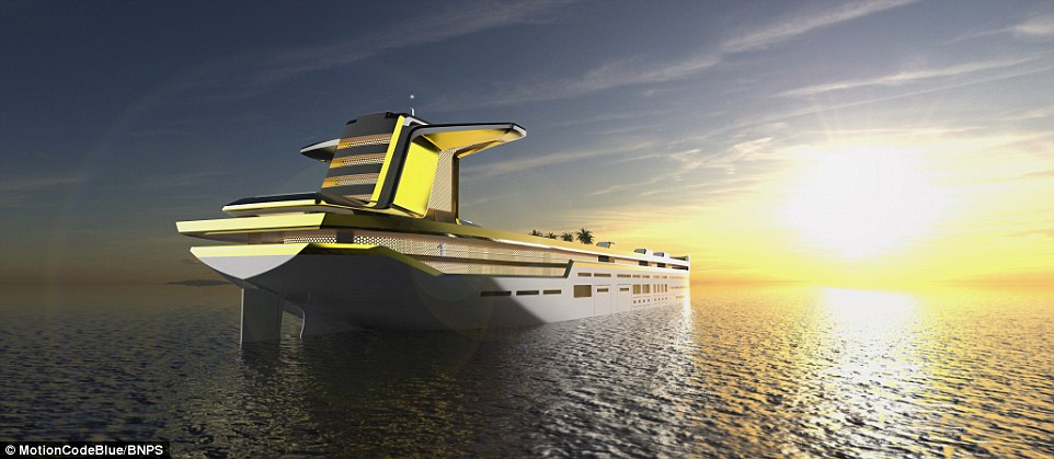The spectacular design includes space for a four-storey ski slope, complete with Austrian-style lodge, four beach clubs with access to the sea restaurants, a spa and BMW cars to zip guests from on end of the ship to another