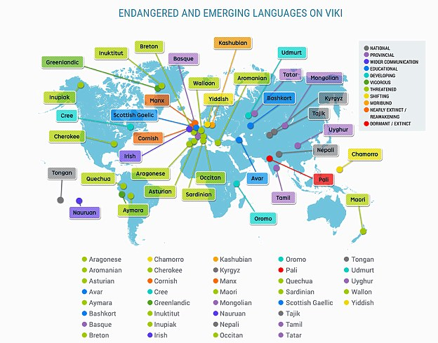 A TV service called Viki offers channels in approximately 50 languages that are classified as endangered or emerging, including Breton, Cornish, Yiddish and Maori, shown on this map