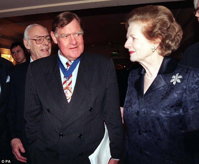 Mrs Thatcher's press secretary Sir Bernard Ingham, (left) pictured with the former Prime MInister, said  he 'could not recall the file' but confirmed they both knew about sex crime allegations aimed at a minister