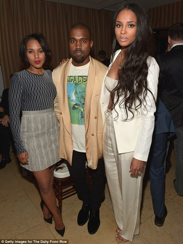 Catching up: Kanye was seen chatting to Kerry Washington and Ciara - a close friend of Kim Kardashian's