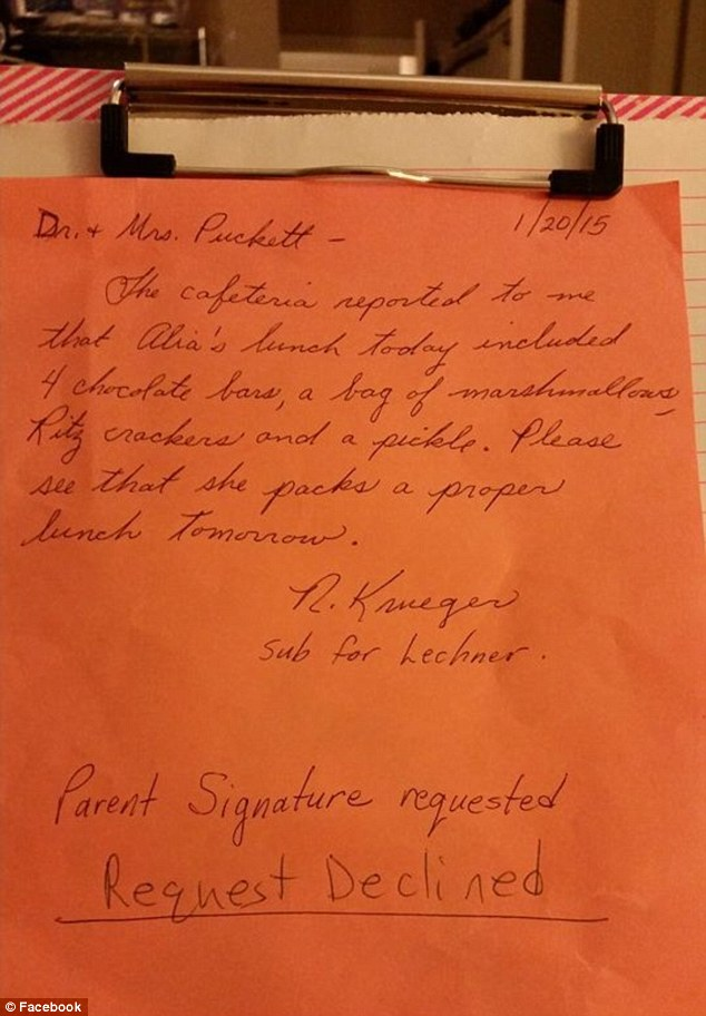 Request declined: Dr. and Mrs Puckett were annoyed to get this letter from the substitute teacher at Kirksville Primary School on Tuesday