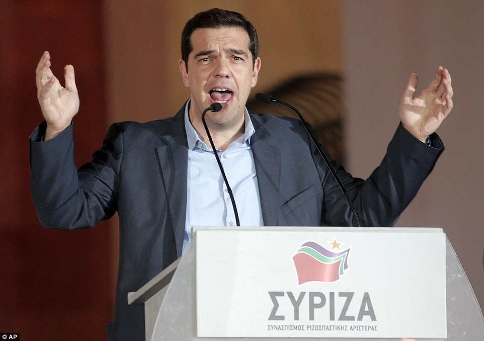'Our priority above all will be to restore the country's lost dignity,' Syriza leader Alexis Tsipras, 40, told a rally of thousands of supporters