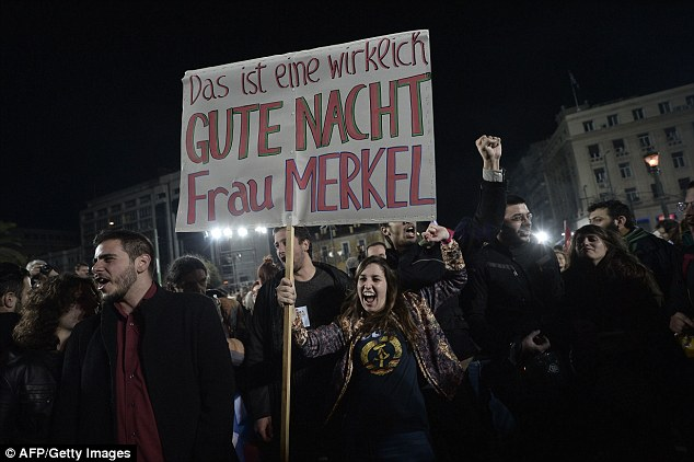 A message to Merkel: Syriza supporters on the streets of Athens wished the German Chancellor good night