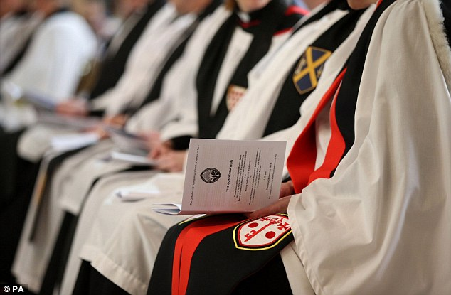 Service: Many of those attending were dressed in their formal ecclesiastical vestments
