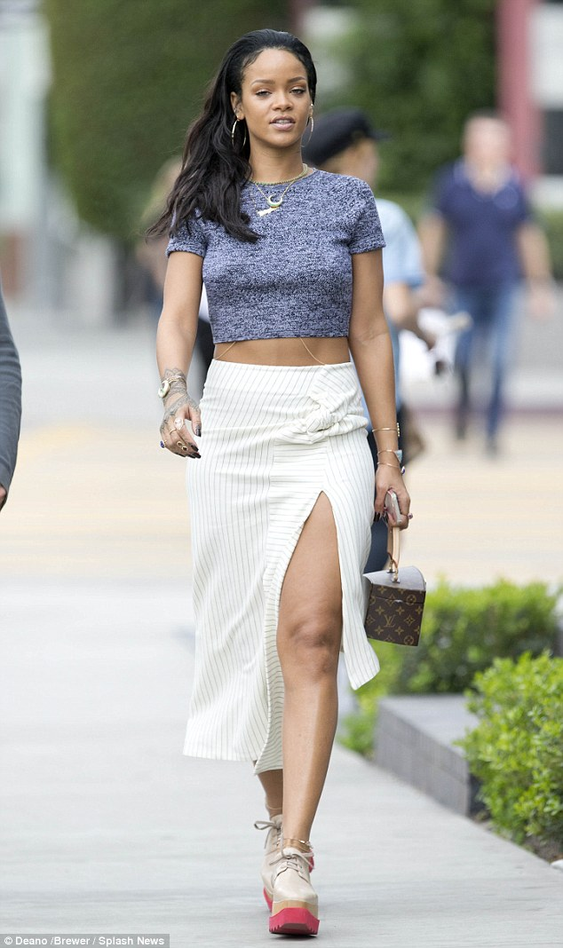 Leggy look: Rihanna was spotted out shopping  in West Hollywood on Monday