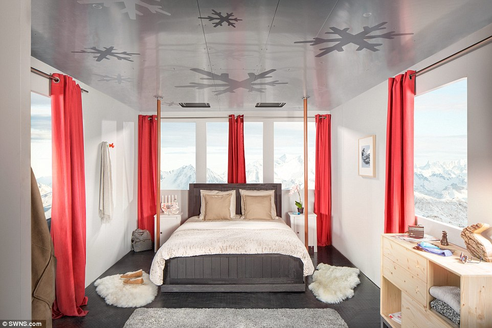 The hotel room, which offers guests the perfect location to hit the slopes the next morning, is being offered by accommodation website Airbnb
