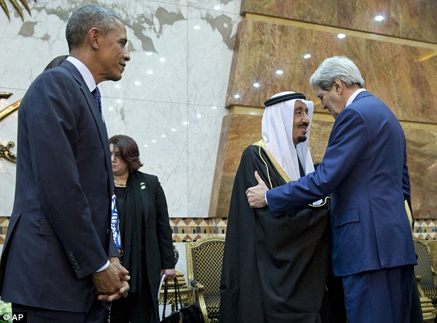 Secretary of State John Kerry (right) was also on hand to pay his respects to King Salman and offer condolences about his half-brother