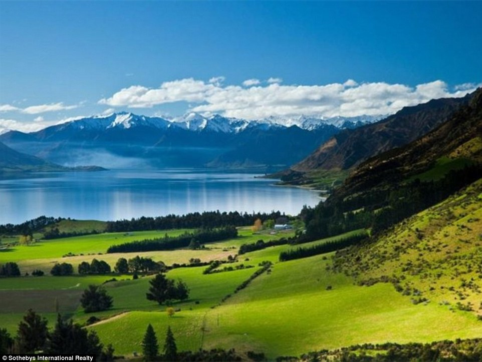 Bonus: Many of the plots come with huge amounts of land set in the stunning New Zealand landscape. This 6,505-hectare farm is nestled along the breathtaking shore of Lake Hawea. The house on this farm can be seen above, at the bottom of the mountain's slope